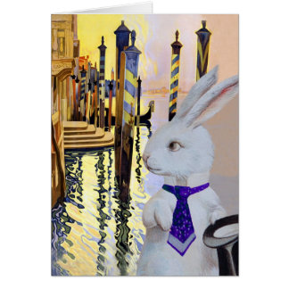 White Rabbit in Venice Italy - Anthropomorphic Greeting Cards