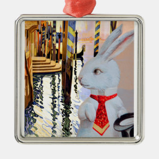 White Rabbit in Venice - Vintage Art Composite Metal Ornament