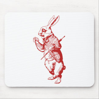 White Rabbit Inked Red Mousepads
