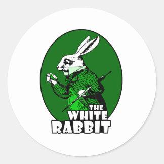White Rabbit Logo Green Classic Round Sticker