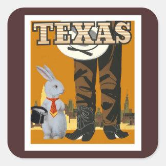 White Rabbit Meets Texas Cowboy Square Sticker