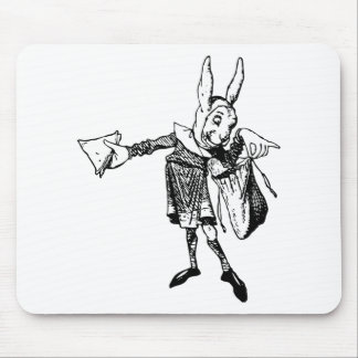 White Rabbit Messenger Inked Black Mouse Pad