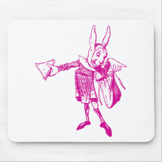 White Rabbit Messenger Inked Pink Mouse Pad