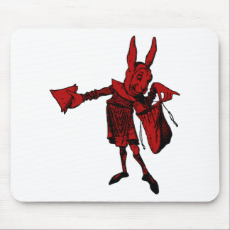 White Rabbit Messenger Inked Red Fill Mouse Pad
