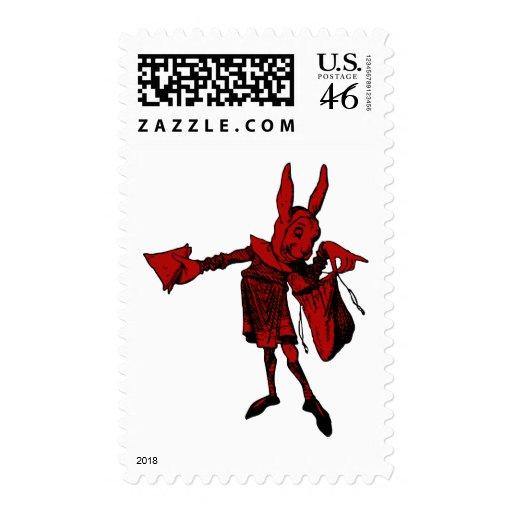 White Rabbit Messenger Inked Red Fill Postage