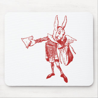 White Rabbit Messenger Inked Red Mouse Pad