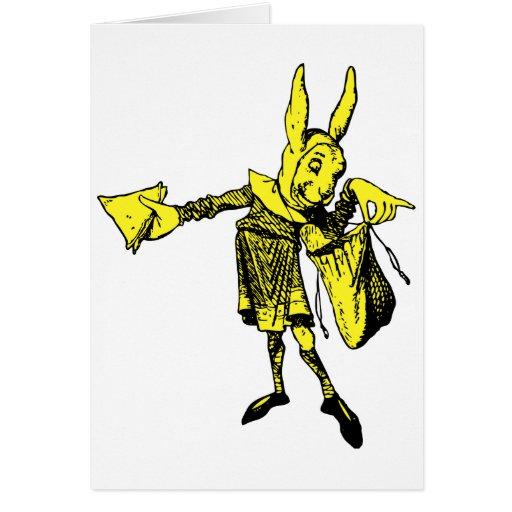 White Rabbit Messenger Inked Yellow Fill Greeting Card
