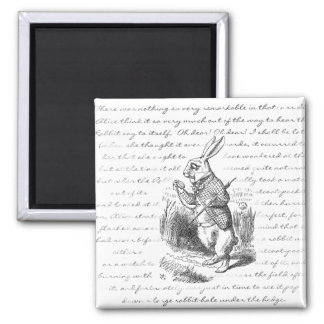 White Rabbit - Oh Dear! Oh Dear! I shall be Late! 2 Inch Square Magnet