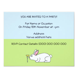 White Rabbit. On a Lawn. 4.25x5.5 Paper Invitation Card