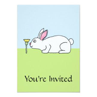 White Rabbit. On a Lawn. 5x7 Paper Invitation Card
