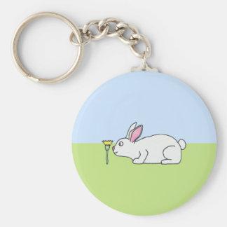 White Rabbit. On a Lawn. Keychain