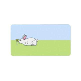 White Rabbit. On a Lawn. Address Label