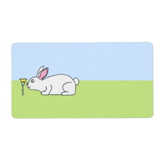 White Rabbit. On a Lawn. Shipping Label