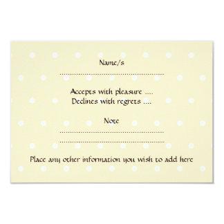 White Rabbit, on beige polka dot patten. 3.5x5 Paper Invitation Card