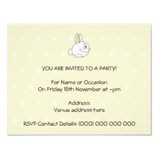White Rabbit, on beige polka dot patten. 4.25x5.5 Paper Invitation Card