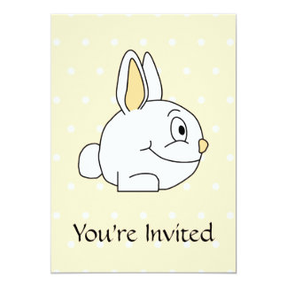 White Rabbit, on beige polka dot patten. 5x7 Paper Invitation Card