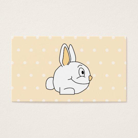 White Rabbit, on beige polka dot patten. Business Card