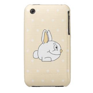 White Rabbit, on beige polka dot patten. iPhone 3 Cover