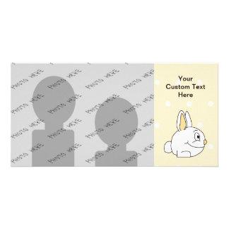 White Rabbit, on beige polka dot patten. Personalized Photo Card