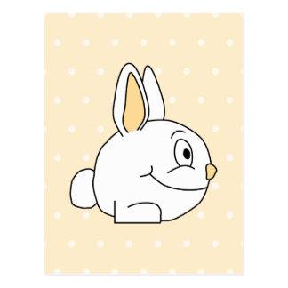 White Rabbit, on beige polka dot patten. Postcard