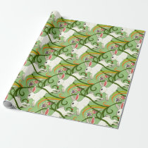 White Rabbit on Green Tiled Home Decor Wrapping Paper