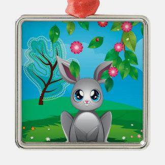 White Rabbit on Lawn Metal Ornament