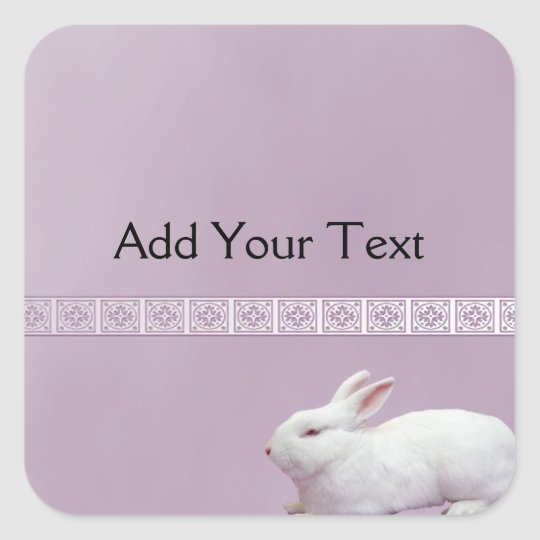 White Rabbit on Lilac Background Square Sticker