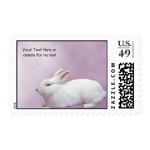 White Rabbit on Lilac Background Stamp