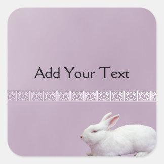 White Rabbit on Lilac Background Square Sticker