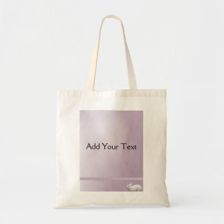 White Rabbit on Lilac Background Tote Bag