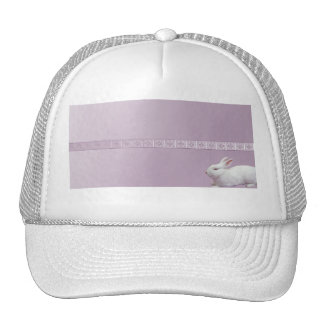 White Rabbit on Lilac Background Trucker Hat