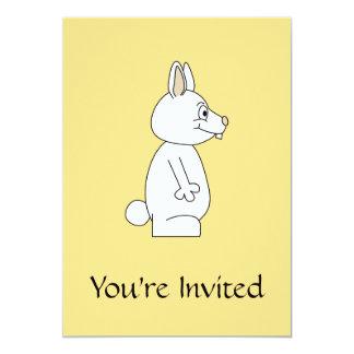 White Rabbit on Yellow Background. 5x7 Paper Invitation Card