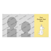 White Rabbit on Yellow Background. Card