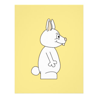 White Rabbit on Yellow Background. Flyer