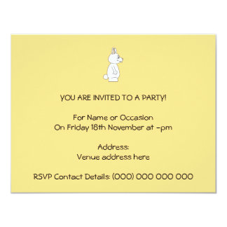 White Rabbit on Yellow Background. 4.25x5.5 Paper Invitation Card