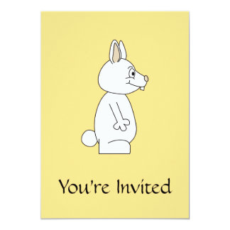 White Rabbit on Yellow Background. 5x7 Paper Invitation Card