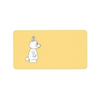 White Rabbit on Yellow Background. Label