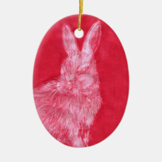White Rabbit Double-Sided Oval Ceramic Christmas Ornament