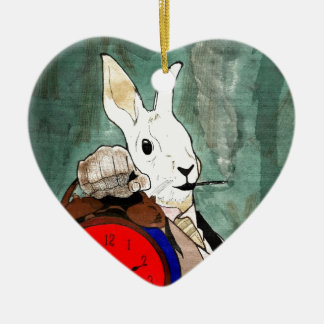white rabbit Double-Sided heart ceramic christmas ornament