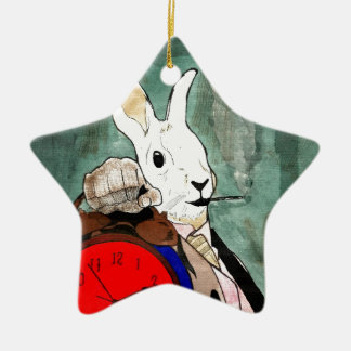 white rabbit Double-Sided star ceramic christmas ornament