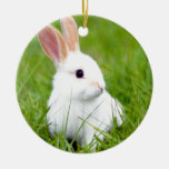 White Rabbit Double-Sided Ceramic Round Christmas Ornament