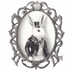"""White Rabbit Photo Sculpture Alice in Wonderland<br><div class=""""desc"""">A Victorian styled White Rabbit. Instead of showing him in the rabbit hole I decided to show him creeping into our world another way... .through a painting. Properly dressed in a suit and top hat, this white rabbit means business, he works for the Queen of Hearts after all. *All Images...</div>"""