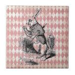 "White Rabbit Pink Diamond Tile<br><div class=""desc"">Distressed pink harlequin pattern,  overlay of Alice in Wonderland&#39;s White Rabbit from the original antique illustration (public domain image)</div>"