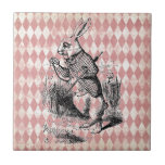 "White Rabbit Pink Diamond Tile<br><div class=""desc"">Distressed pink harlequin pattern,  overlay of Alice in Wonderland&#39;s White Rabbit from the original antique illustration (public domain image)</div>"