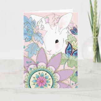White Rabbit, Pink Floral Greeting Card card
