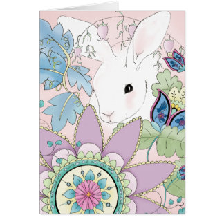 White Rabbit, Pink Floral Greeting Card