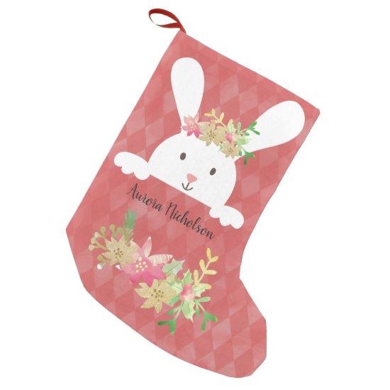 White Rabbit Pink Gold Poinsettia Floral Small Christmas Stocking