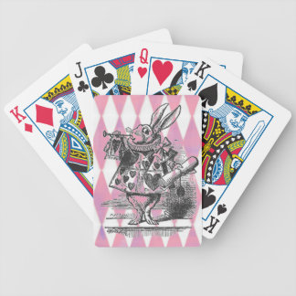 White Rabbit Pink Harlequin Cards Bicycle Playing Cards