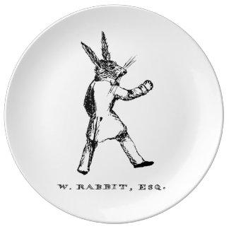 White Rabbit Plate Porcelain Plate