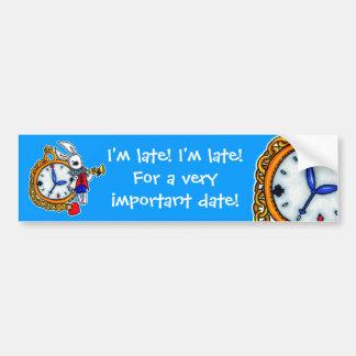 White Rabbit pocket watch Bumper Stickers